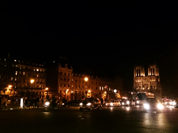 Walk back to our lady (Notre-Dame) Good night!