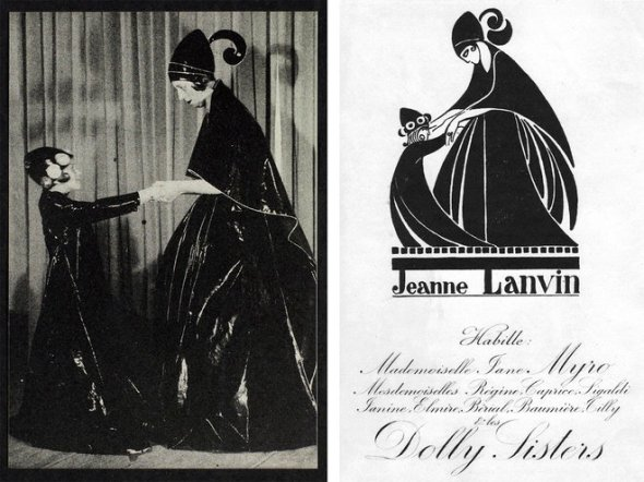 Marguerite and Jeanne Lanvin; the Iribe-designed logo. Photo: (from left) © Lanvin Heritage; Mary Evans / Jazz Age Club Collection/Everett Collection